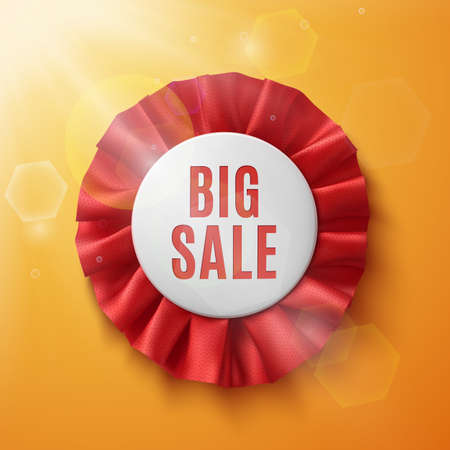 sun flares: Big sale, realistic red fabric award ribbon, on orange background with sun and sun flares. Badge.