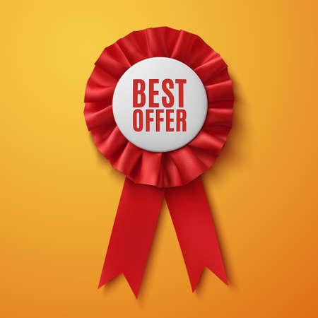 Best offer, realistic red fabric award ribbon, on orange background. Badge. Vector illustration