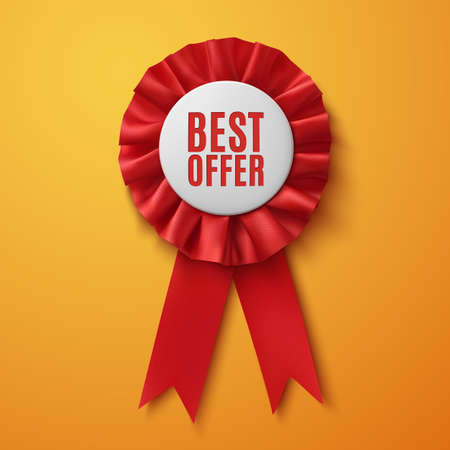 Best offer, realistic red fabric award ribbon, on orange background. Badge. Vector illustration