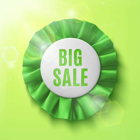sun flares: Big sale, realistic green fabric award ribbon, on green background with sun and sun flares. Spring sale. Badge. Vector illustration.