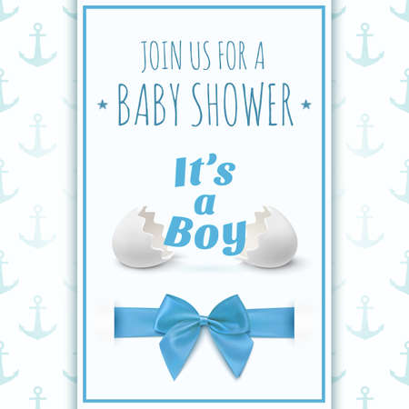 Its a boy. Template for baby shower celebration, or baby announcement card. Greeting card with two egg shells, blue ribbon and a bow. Vector illustration.