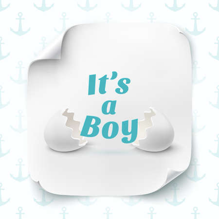 its a boy: Its a boy. Template for baby shower celebration, or baby announcement card. Two egg shells with text, on square curved paper banner. Vector illustration