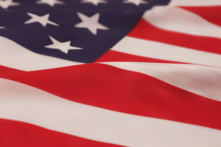 independence day: Realistic blowing American flag closeup. Vector illustration.