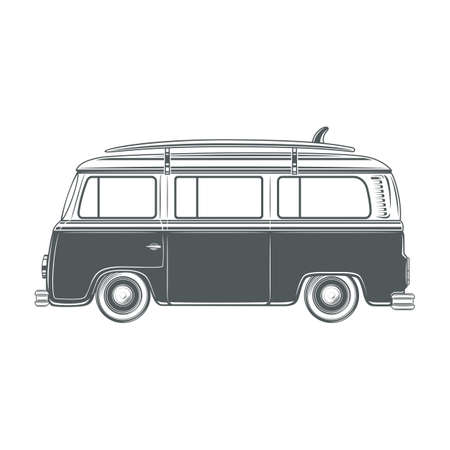 surf silhouettes: Retro vintage travel camper van with surf board isolated on white background. Vector illustration. Illustration
