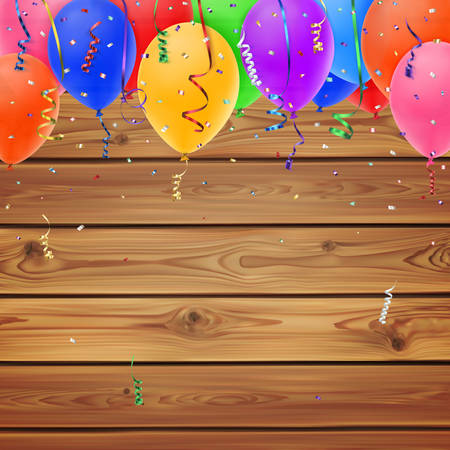 boarder: Celebration background with confetti colorful ribbons and balloons on realistic wooden boards. Vector illustration Illustration