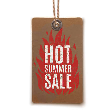 price tag: Hot summer sale. Realistic, vintage label isolated on white background. Price tag. Vector illustration. Illustration