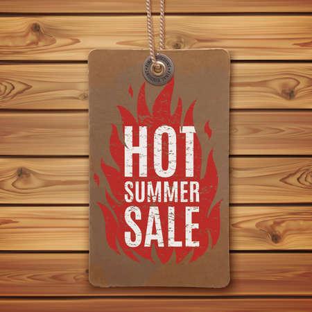 Hot summer sale. Realistic, vintage label on wooden planks. vector illustration.