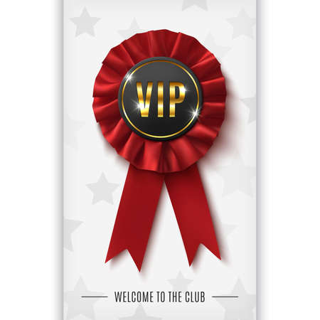 VIP background with realistic red fabric award ribbon. Vector illustration. Vector