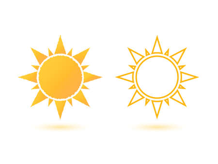 yellow orange: Set of two simple, abstract sun icons. Vector illustration.