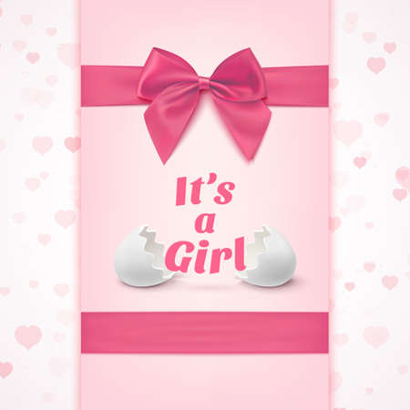 congratulations: Its a girl. Template for baby shower celebration, or baby announcement card. Greeting card with two egg shells, pink ribbon and a bow. Vector illustration. Illustration