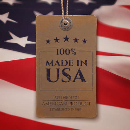 usa: Made in USA. Vintage, realistic price tag on American flag background. Vector illustration.