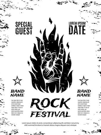 Grunge, rock festival poster, with rock n roll sign and fire. Vector illustration. Stock Illustratie
