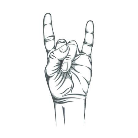 Rock n roll segno, isolato su sfondo bianco. Mano. Illustrazione vettoriale. Archivio Fotografico - 41387990