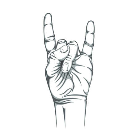 Rock n roll sign, isolated on white background. Hand. Vector illustration.