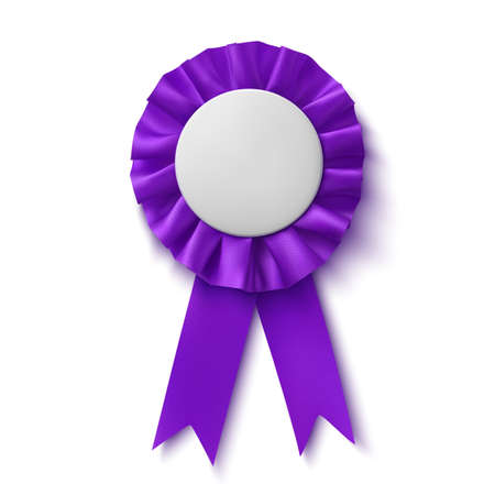 blank realistic purple fabric award ribbon isolated on white