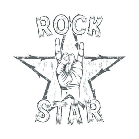 rock n: Rock star, print for t-shirt graphic. Vector illustration. Illustration