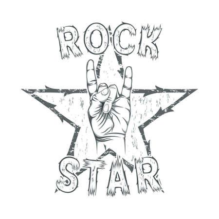 rockstar: Rock star, print for t-shirt graphic. Vector illustration. Illustration
