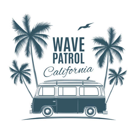 hollyday: Vintage, retro surf van with palms and a gull. Handdrawn t-shirt graphic, print. Vector illustration.