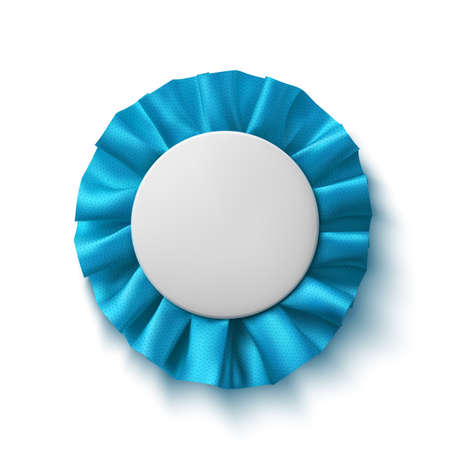 winner: Blank, realistic blue fabric award ribbon, isolated on white background. Badge. Vector illustration. Illustration