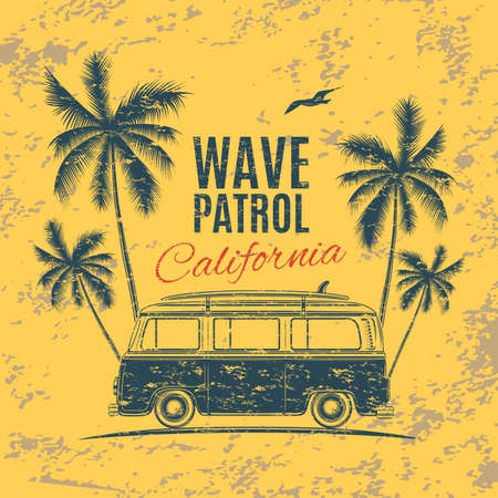 gull: Grunge, vintage, retro surf van with palms and a gull. Handdrawn t-shirt graphic, print. Vector illustration.