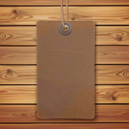 price tag: Realistic blank vintage label on wooden planks. Price tag. Vector illustration.
