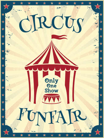 Vintage circus poster. Funfair invitation to the show. Vector illustration. Иллюстрация