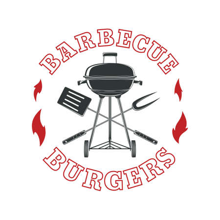 Barbecue logo template BBQ stamp.  Vector illustration.
