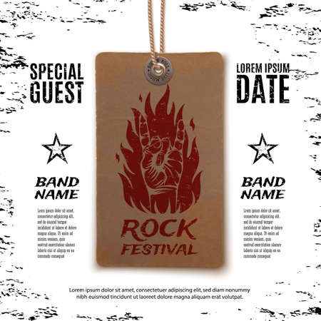 Grunge, rock festival poster, with rock n roll sign and fire on vintage price tag. Vector illustration.