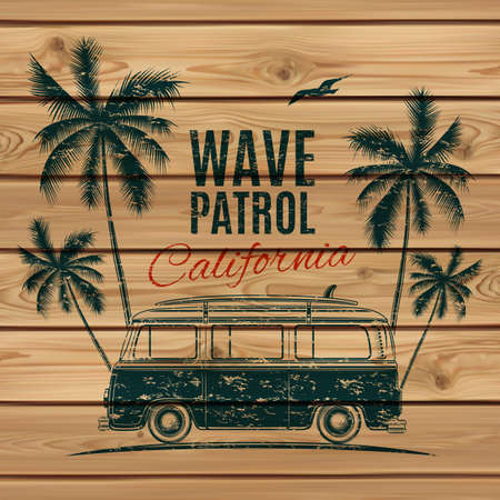 surf silhouettes: Grunge, vintage, retro surf van with palms and a gull, on wooden planks. Vector illustration.