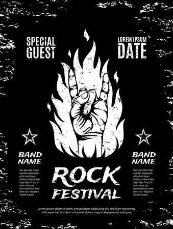 Grunge, rock festival poster, with rock n roll sign and fire. Vector illustration. Vettoriali