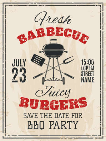 Vintage barbecue party invitation. BBQ food flyer template. Vector illustration.