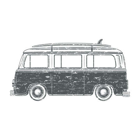 hollyday: Grunge retro vintage travel camper van with surf board isolated on white background. Vector illustration.