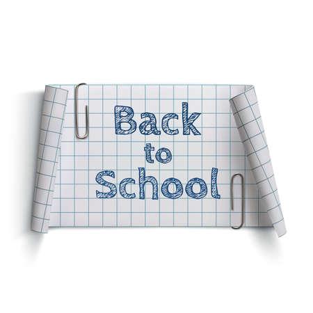 papier banner: Zur�ck in die Schule, gekr�mmte Papier-Banner, mit zwei B�roklammern, isoliert auf wei�em Hintergrund. Vektor-Illustration.