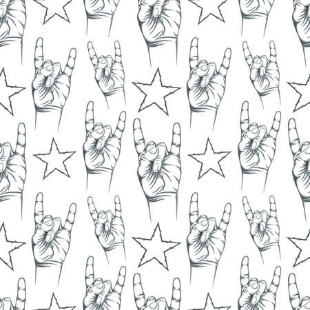 rock hand: Seamless pattern with Rock n Roll sign and a stars. Vector illustration.