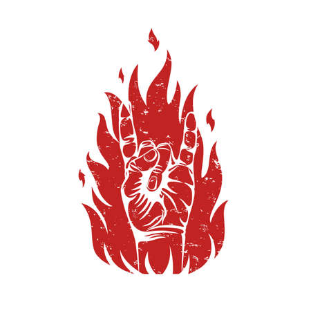 Rock n roll sign on fire silhouette, isolated on white background. Vector illustration.