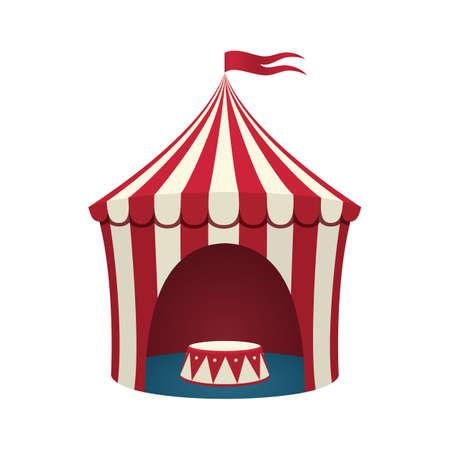 circo: Tienda de circo aislado sobre fondo blanco. Ilustración del vector.