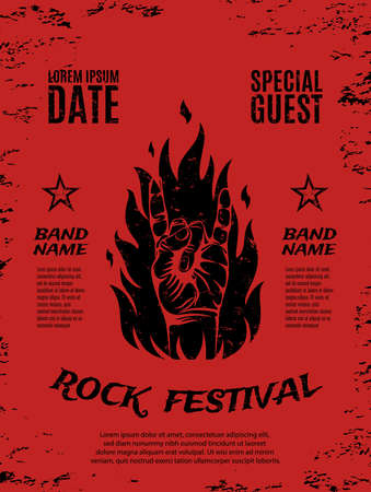 rock n: Grunge, rock festival poster, with rock n roll sign and fire. Vector illustration. Illustration