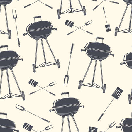 bbq: Retro BBQ grill seamless pattern. Vector illustration. Illustration