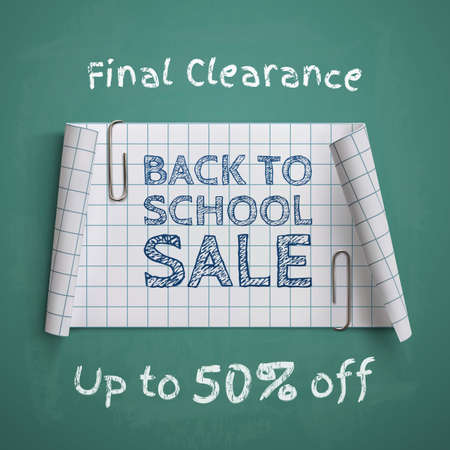 paper banner: Back to School, curved paper banner, with two paper clips, on green chalkboard. Vector illustration.