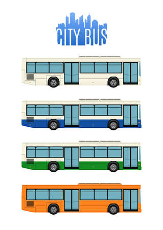Ensemble de quatre icônes de bus de la ville. Vector illustration.