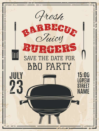 bbq: Vintage barbecue party invitation. Food flyer template. Vector illustration.