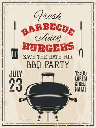 weinlese-grill-party einladung. bbq essen flyer vorlage. vektor, Einladung