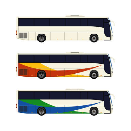 tour bus: Set of three coach bus icons. Vector illustration.