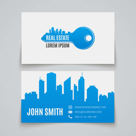 Real estate simple key logo. Business card template. Vector illustration.