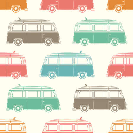 hippie: Retro camper van with surfing board. Seamless pattern. Vector illustration.