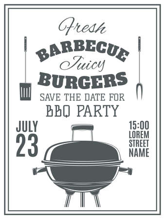 barbecue grill: Vintage barbecue party invitation. BBQ  food flyer template. Vector illustration. Illustration
