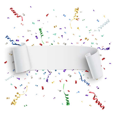 Realistic white curved ribbon, on celebration background with colorful confetti and ribbons. Vector illustration.