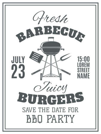 bbq: Vintage barbecue party invitation. BBQ food flyer template. Vector illustration.