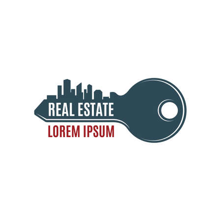 Real estate simple key logo template. Vector illustration. Çizim
