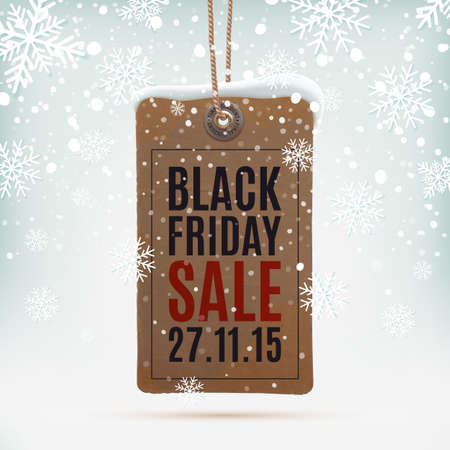 prices: Black Friday sale. Realistic, vintage price tag on winter background wit snow and snowflakes. Vector illustration. Illustration